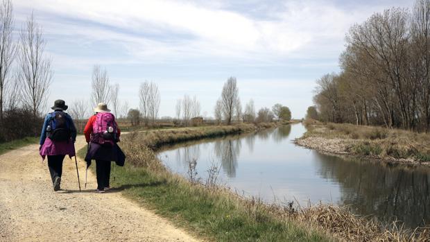 Peregrinos junto al Canal de Castilla