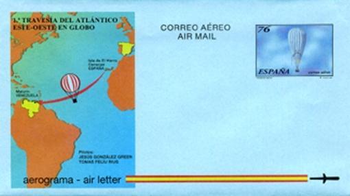 Sello: Globo aerostático mixto de gas y aire caliente tipo Rozier 'Ciudad de Huelva' en el que se realizó la primera travesía del océano Atlántico de Europa a América