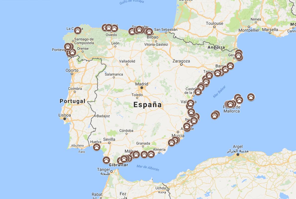 playas de espana mapa