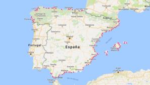Mapa de las playas nudistas de España 2017