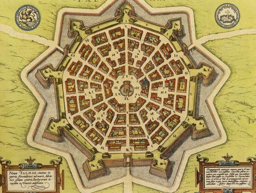 Mapa de la ciudad fortificada de Palmanova en el siglo XVI