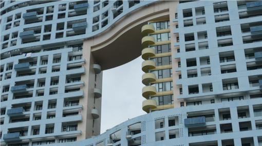 Agujero en un edificio de Hong Kong