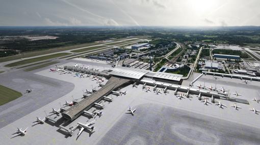 Vista aérea de la terminal del aeropuerto de Oslo