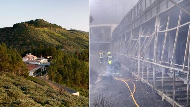 A la derecha, exterior del Parador de Turismo. Izquierda aspecto de la zona afectada por las llamas