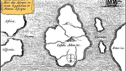 Mapa de Athanasius Kircher mostrando una supuesta ubicación de la Atlántida. (Mundus Subterraneus, 1669). Mapa orientado con el sur arriba