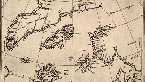 La isla de Frislandia en el mapa de N. Zeno (1558) aparece en la parte inferior izquierda