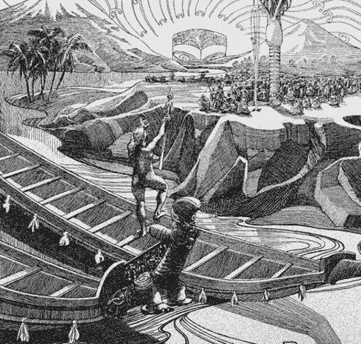 Reconstrucción de Hawaiki realizada por Wilhelm Dittmer en 1907