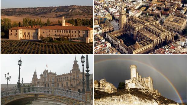 De izquierda a derecha, Abadía Retuerta Le Domaine, vista aérea de la catedral de Sevilla, la Plaza de España en la captial andaluza y el castillo de Peñafiel, en Valladolid