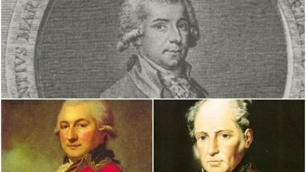 De arriba abajo, Vicente Martí y Soler, José de Ribas y Agustín de Betancourt