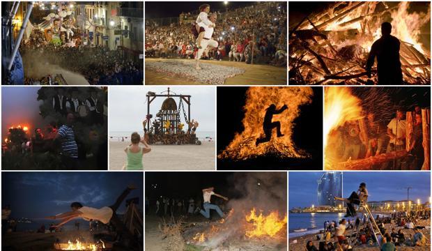 Hogueras y fiesta de la Noche de San Juan en distintas zonas de España