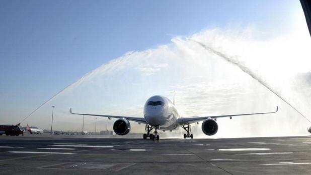 Airbus A350 que cubre la ruta Barcelona-Singapur