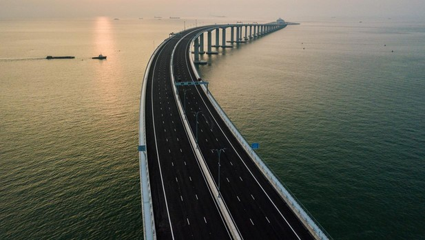 Vista aérea del puente Hong Kong-Zhuhai-Macao