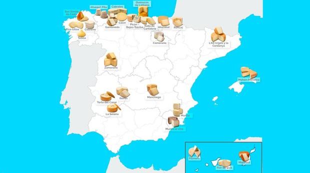El mapa de los quesos de España