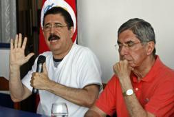 Zelaya y Arias en conferencia de prensa.